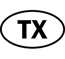 Texas - TX - oval sticker and more Photographic Print