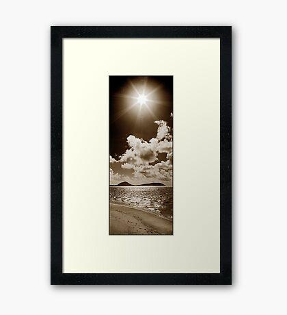 Coconut Palm trees, big clouds & Sunshine Framed Print