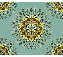 Green White Brown Gold Mandala Design Photographic Print