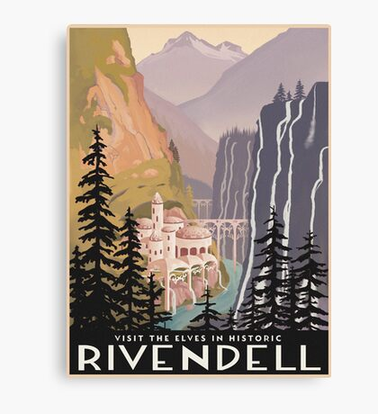 Fantasy valley travel poster Canvas Print
