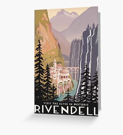 Fantasy valley travel poster Greeting Card