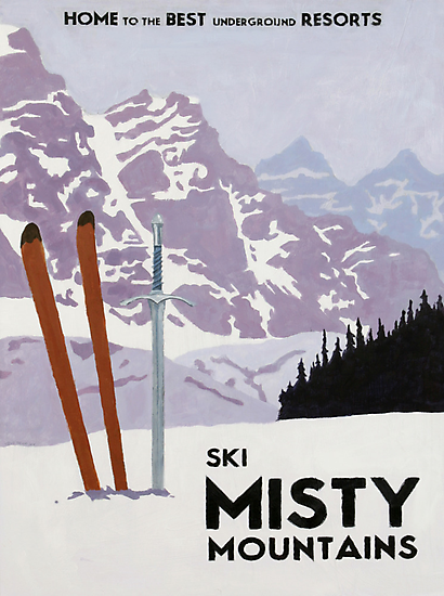 Vintage ski mountain poster by stevethomasart