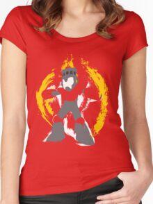 Robot Master Fire Man Vector Design Women's Fitted Scoop T-Shirt