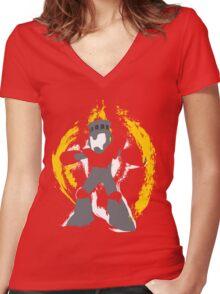 Robot Master Fire Man Vector Design Women's Fitted V-Neck T-Shirt