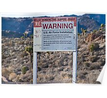 Air Force Warning Sign Area 51 Poster