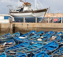 Blue, the color of the port in Essaouira, Morocco. by Kate Schofield