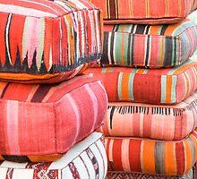 Colorful cushions, Essaouira, Morocco by Kate Schofield