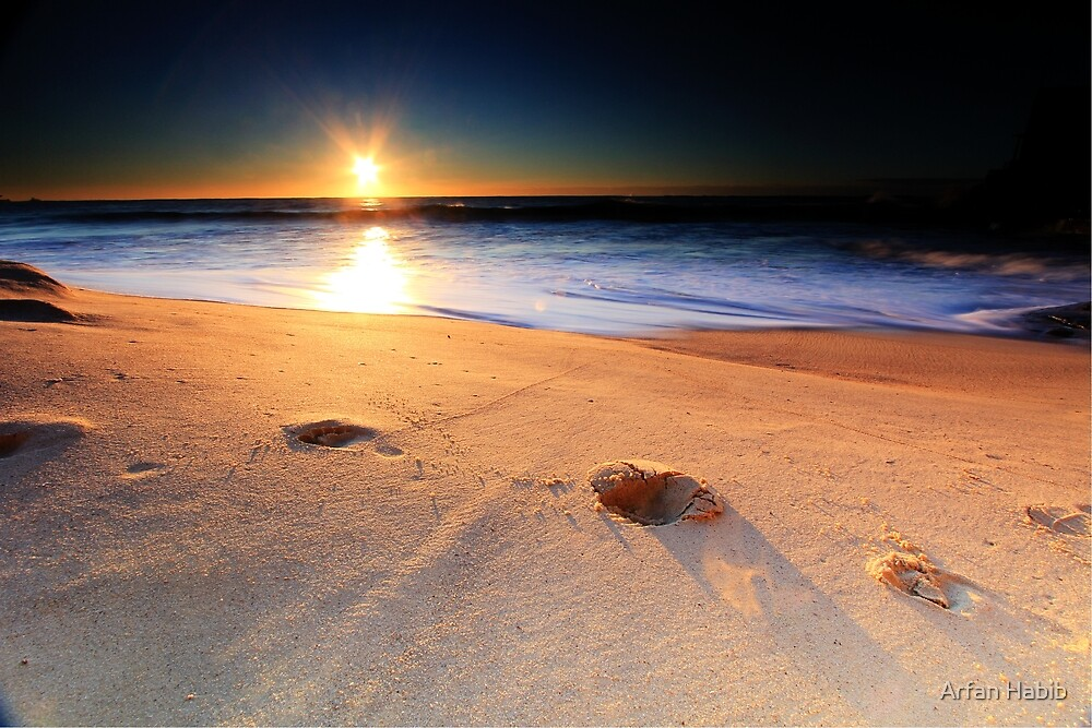 Footprints in the Sand at Coogee Beach by Arfan Habib