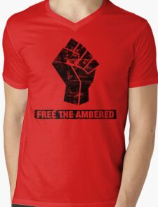 FREE THE AMBERED Mens V-Neck T-Shirt