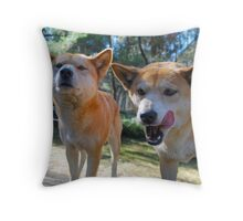 """Who's that?""       ""He looks yummy!"" Throw Pillow"