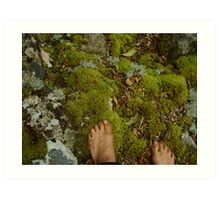 bare feet in the forest Art Print