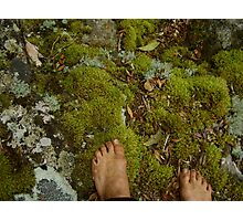 bare feet in the forest Photographic Print