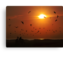 Working at Sunset Canvas Print