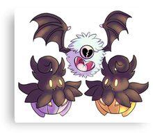 Halloween Pokemon - Pumpkaboo and Woobat Canvas Print