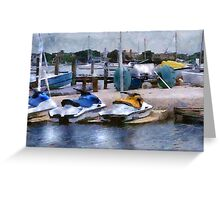 O'Learys Jet Ski Play Toys on Waterfront Greeting Card