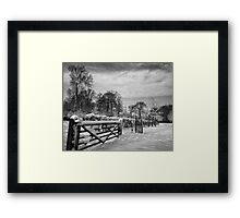 Farm gate and trees in Winter Framed Print