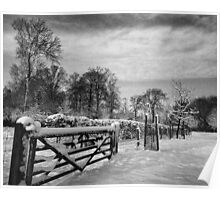 Farm gate and trees in Winter Poster