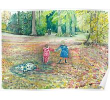 Autumn Two Little Girls Poster