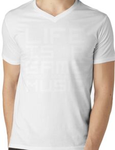 Life is a Game Without Background Music (Reversed Colours) Mens V-Neck T-Shirt