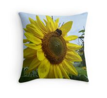 bright sunflower and bumble bee Throw Pillow