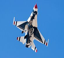 USAF Thunderbird Unmarked Belly Shot Banking on Approach  by Henry Plumley