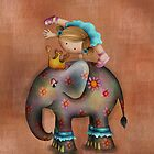 Girl on Elephant iPhone Case by Kristy Spring-Brown