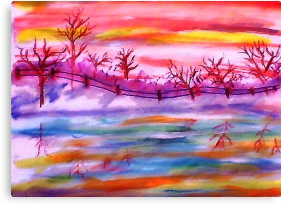 Winter by the fence line and pond, watercolor by Anna  Lewis, blind artist