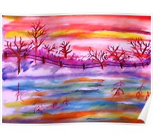 Winter by the fence line and pond, watercolor Poster
