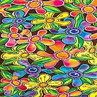 Funky Flowers (for Duvet & Clothing) by Lisa Frances Judd~QuirkyHappyArt