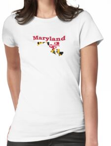Maryland State Flag Map Womens Fitted T-Shirt