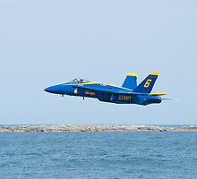 Blue Angels Solo #6 Skimming Lake Erie by Henry Plumley