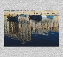 Reflecting on Malta - St. Julian's Harbor Charming Old Boats One Piece - Short Sleeve