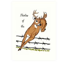 Deer Leaping Barb Wire Fence Art Print