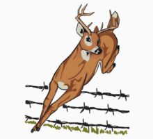 Deer Leaping Barb Wire Fence by dorcas13