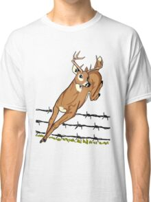 Deer Leaping Barb Wire Fence Classic T-Shirt
