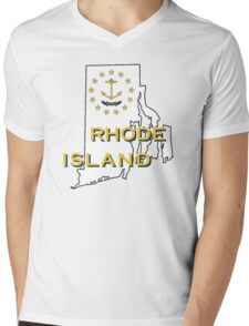 Rhode Island State Flag Map Mens V-Neck T-Shirt