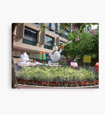 Happy snowman in Hong Kong Canvas Print