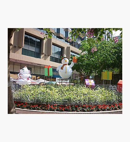 Happy snowman in Hong Kong Photographic Print