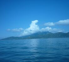 Cloud horse drifting over a island. by Joseph Green
