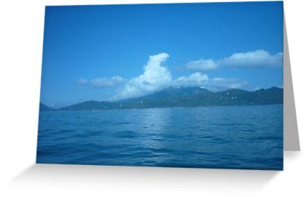 Cloud horse drifting over a island. by Joseph Green