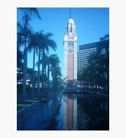 Shimmering reflection of magnificent clock tower Photographic Print