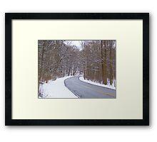 Snowy Drive Framed Print