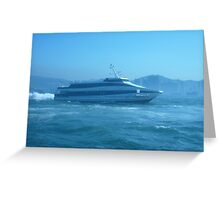 Small ferry blasting across the harbour. Greeting Card