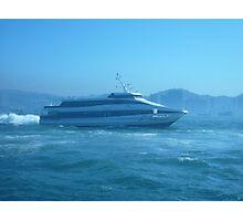 A sleek ferry powering along Photographic Print