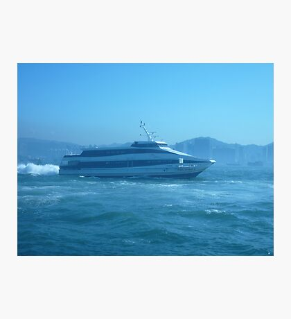 A sleek ferry powering along Photographic Print
