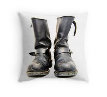 Motorcycle boots Throw Pillow