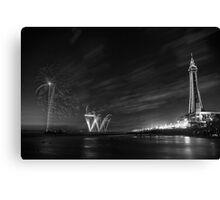 Palm Tree on the Pier - Fireworks @ Blackpool, Fylde, Lancashire Canvas Print