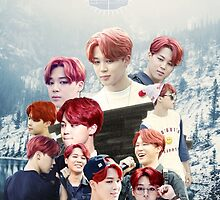 BTS/Bangtan Sonyeondan - Jimin with Red Hair Collage by skiesofaurora