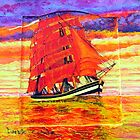 A Clipper Ship on a Wooden Door by Dennis Melling