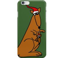 Funny Cool Christmas Kangaroo with Santa Hat iPhone Case/Skin